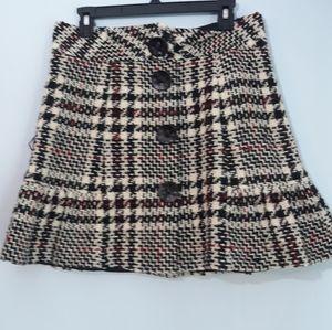 Nanette Lepore Black & Cream Tweed A Line Skirt